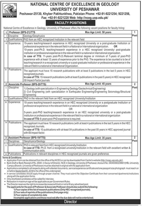 Advertisement for the University of Peshawar Jobs