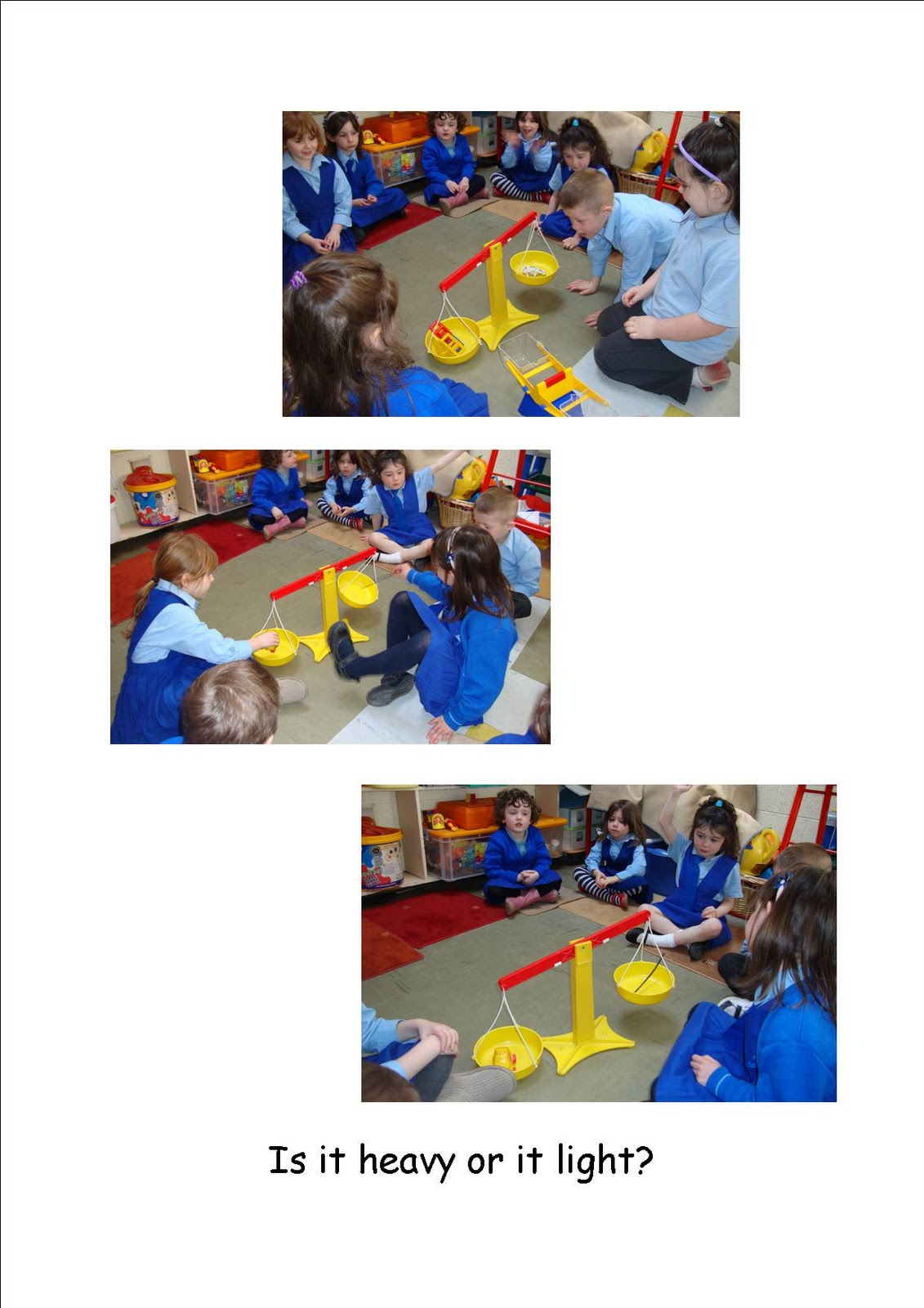 Maths Page Heavy And Light In Junior Infants