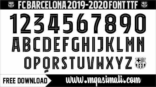 FC Barcelona 2019_20 Font TTF Free Download By M Qasim Ali
