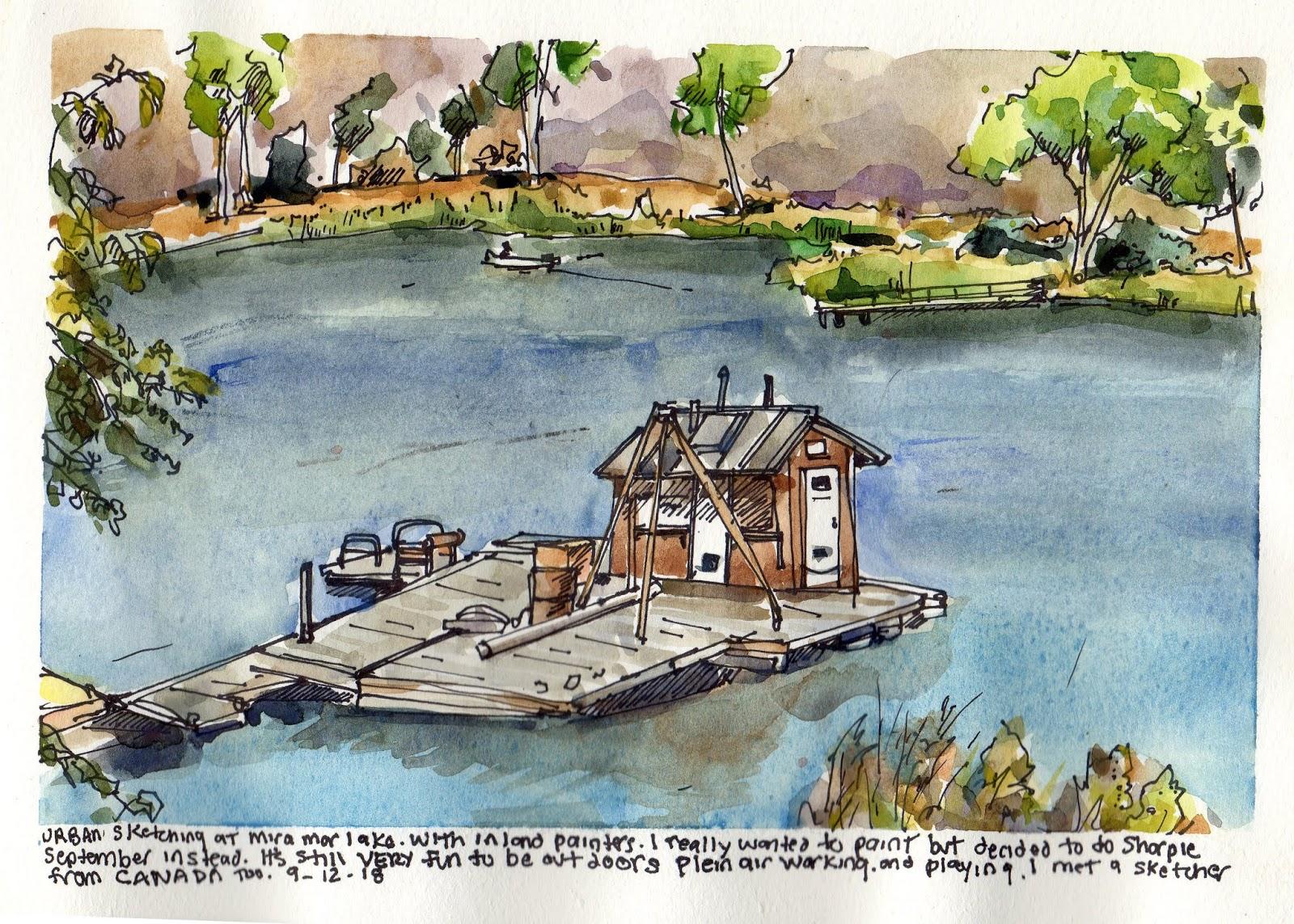 Sharpie September at Lake Mira Mar, San Diego, CA | Urban Sketchers
