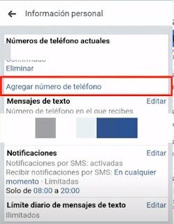 en esta opcion ya podrás editar o agregar tu nuevo numero de teléfono en facebook