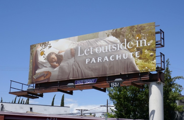 Let outside in Parachute bed billboard