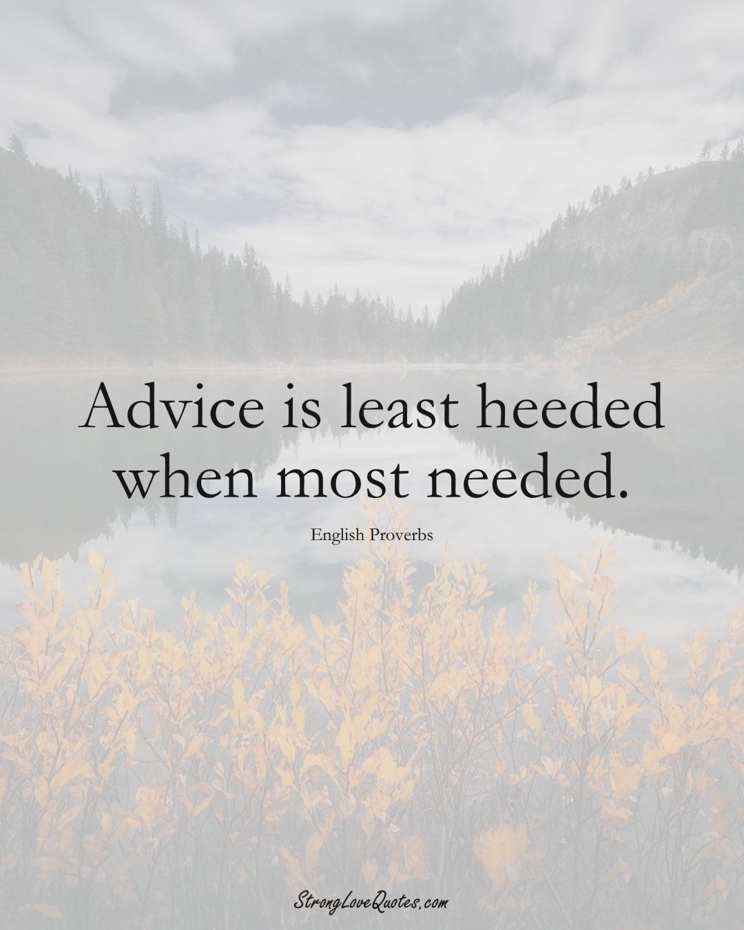 Advice is least heeded when most needed. (English Sayings);  #EuropeanSayings