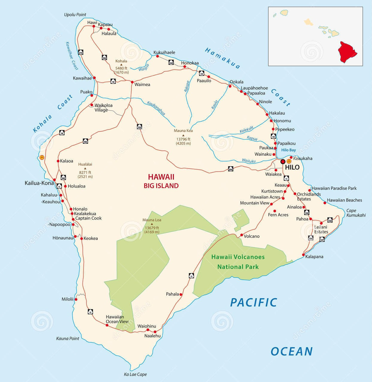 Map Of Hawaii - Road map of hawaii