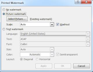gambar dan tulisan watermark di word