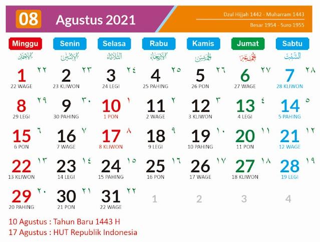 Kalender Bulan Agustus 2021 dan Hari Peringatannya