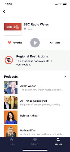 BBC Wales TuneIn Restricted
