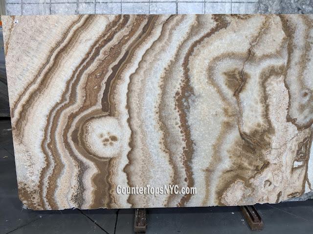 Brown Flower Onyx Marble Slabs Brushed NYC