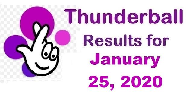 Thunderball Results for Saturday, January 25, 2020