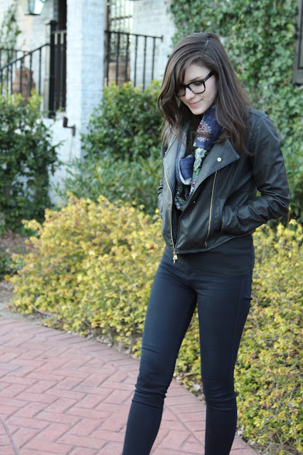 2017, winter, spring, scarf, leather, OOTD,