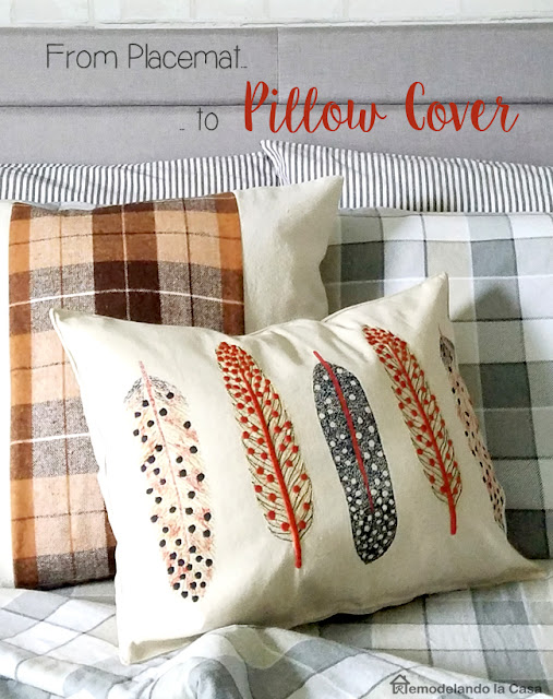 how to make a pillow cover out of a placemat - pillow with feathers and another pillow with brown plaid