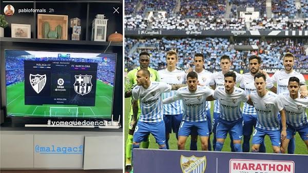 Pablo Fornals no se pierde el Málaga - Barça de la maratón de fútbol