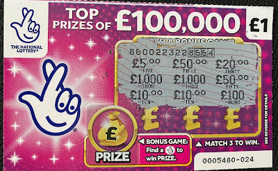 £1 Pink National Lottery Scratchcard 2020