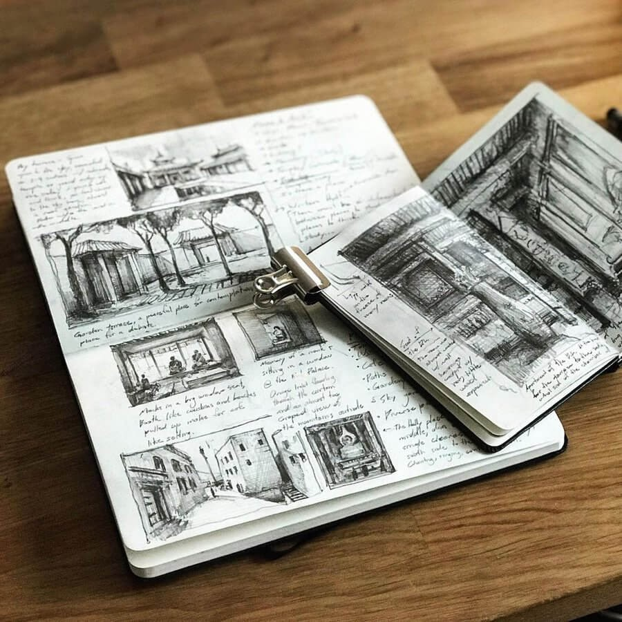 04-Architectural-moleskine-books-Drawing-Jerome-Tryon-www-designstack-co