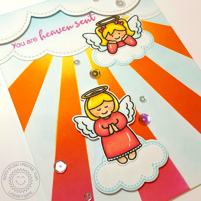 Sunny Studio Stamps: Little Angels & Angelic Sentiments You Are Heaven Sent Card by Lindsey Sams.
