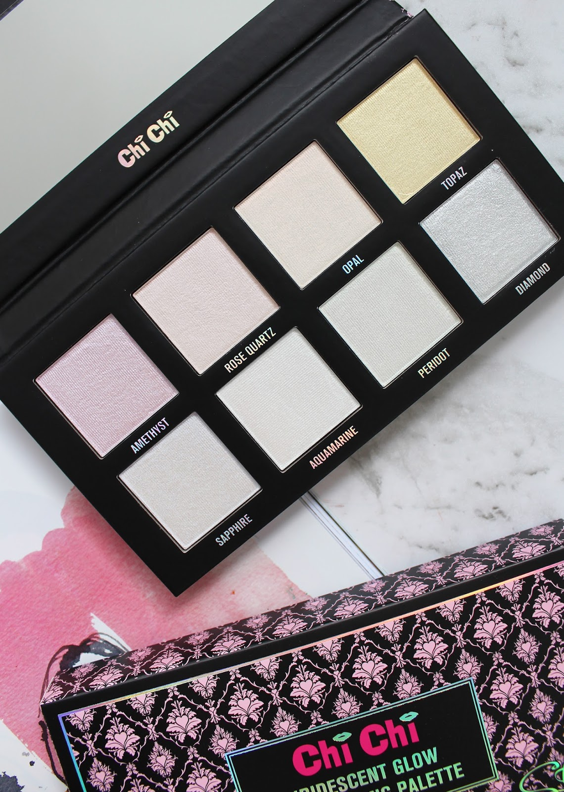 CHI CHI | Iridescent Glow Highlighting Palette - Review + Swatches - CassandraMyee