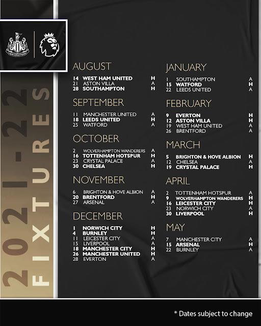 جدول مباريات نيوكاسل يونايتد  فى الدوري الانجليزي للموسم الجديد 2021/2022