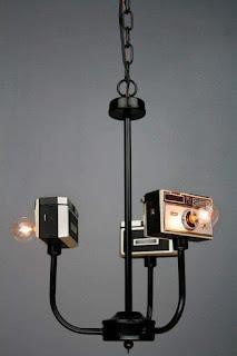 camaras de fotos antiguas recicladas para lamparas