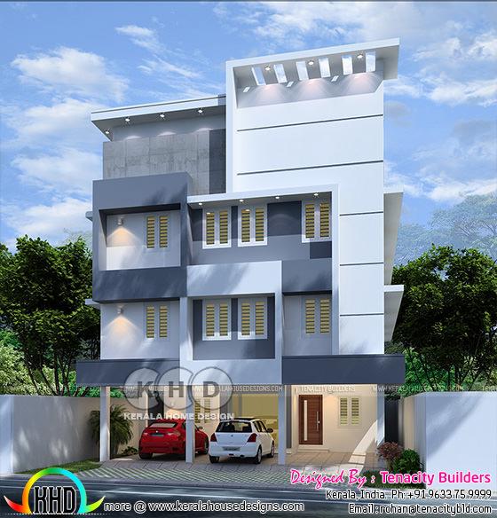 Kerala apartment design in 3 floors