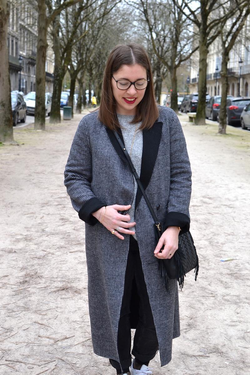 manteau long imprimé pied de poule-Zara