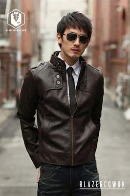 blazer cowok blazercowok.com jaket korean jas pria sk31 brown a