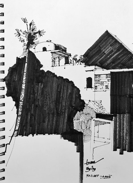 Ký họa nhà phố của Trí Núi