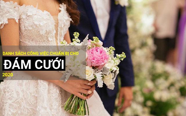 danh sách các công việc chuẩn bị cho đám cưới