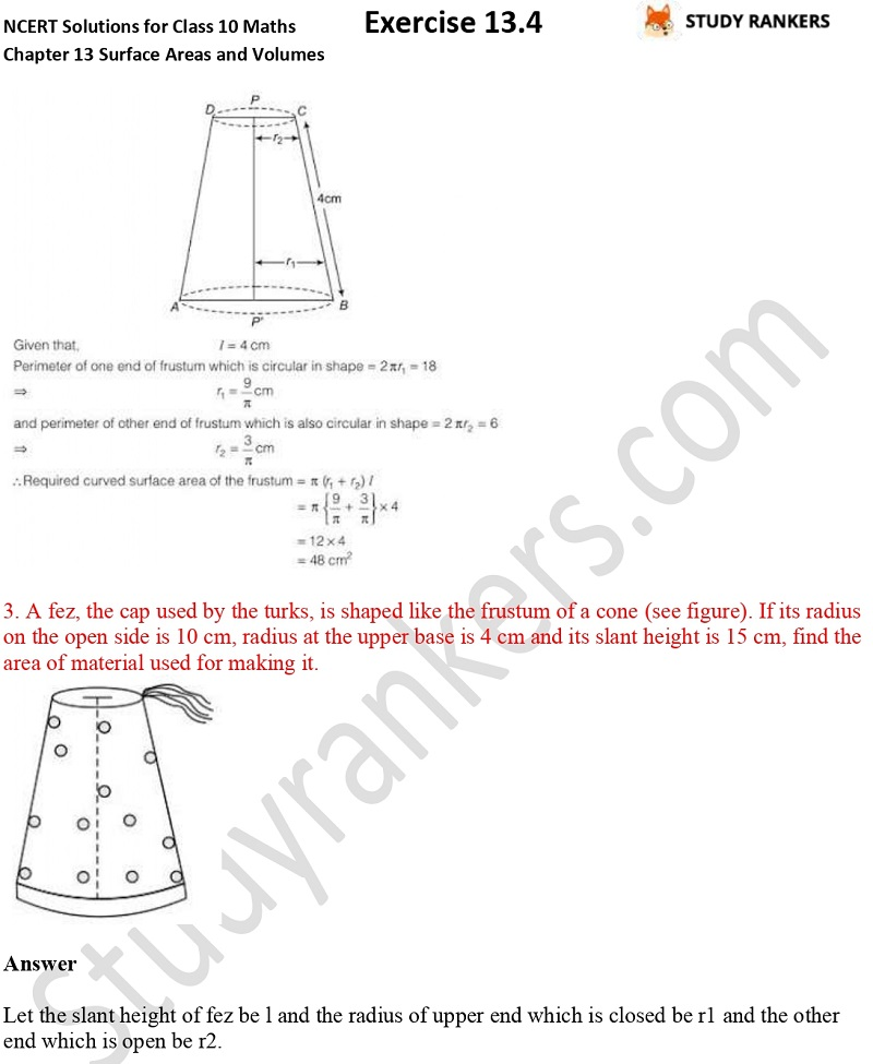 NCERT Solutions for Class 10 Maths Chapter 13 Surface Areas and Volumes Exercise 13.4 Part 2