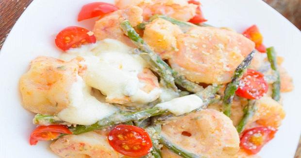 Spicy Shrimp & Asparagus Alfredo Stir Fry Recipe