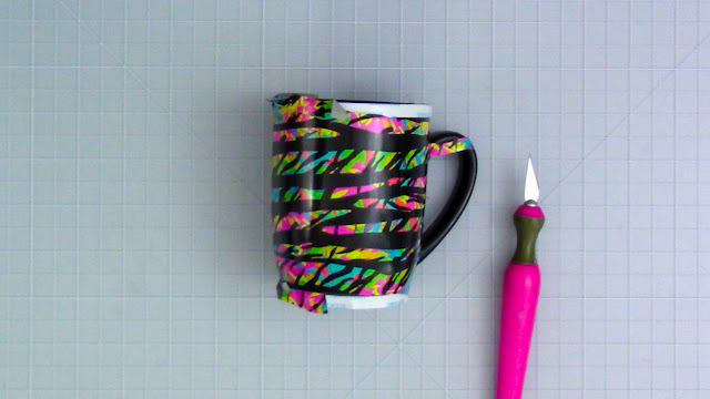 adhesive vinyl, coffee mug, wrapped mug, digital patterns, patterned adhesive vinyl