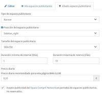 Configurar espacio publicitario Space Content