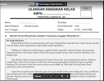 Soal dan Kunci Jawaban PAT Bahasa Sunda Kelas 7 Kurikulum 2013