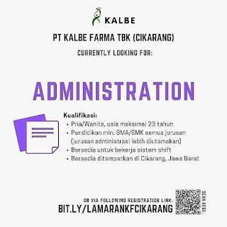 Info Lowongan Kerja Administrasi PT. Kalbe Farma Cikarang