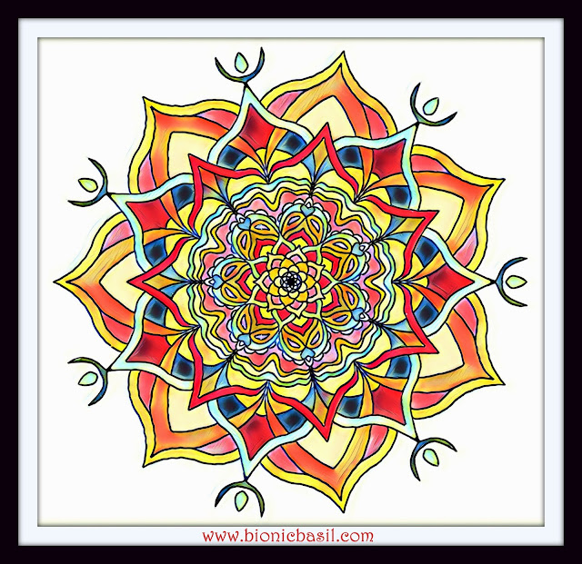 Mandalas on Monday ©BionicBasil® Colouring With Cats Mandala #117 coloured by Cathrine Garnell