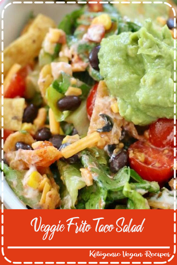This Veggie Frito Taco Salad is SO good and filling. Lettuce, tomato, black beans, cheese, Fritos and a delicious dressing!