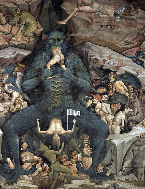 Maomé no inferno (acima na direita). Giovanni di Pietro Falloppi, ou da Modena (1379 – 1455), Cappella Bolognini.