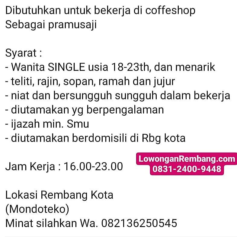 Lowongan Kerja Pramusaji Break Coffee Shop Rembang