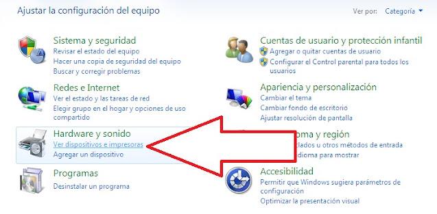 Como ver los dispositivos de impresoras en Windows 7