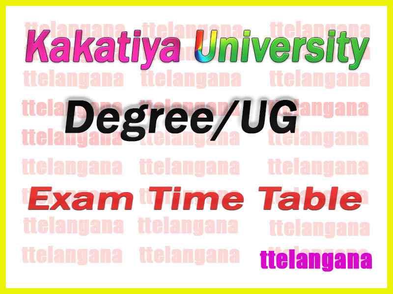 Kakatiya University  Degree /UG Annual Examinations Time Table