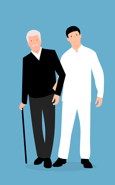 Young man caring for senior man with crouch