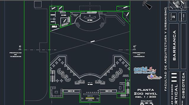 Wedding hall in barranca two front the sea in AutoCAD