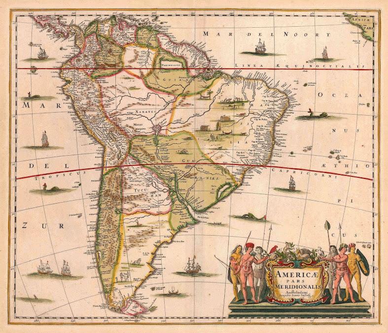 Mapa de América do Sul em 1640, feito em Amsterdam, no tempo das apariões. Na.Sra. falou para esse conjunto continental