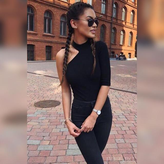 Μεσάτη μαύρη γυναικεία   μπλούζα ADELINA