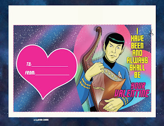 Valentine card featuring Mr. Spock playing his lute