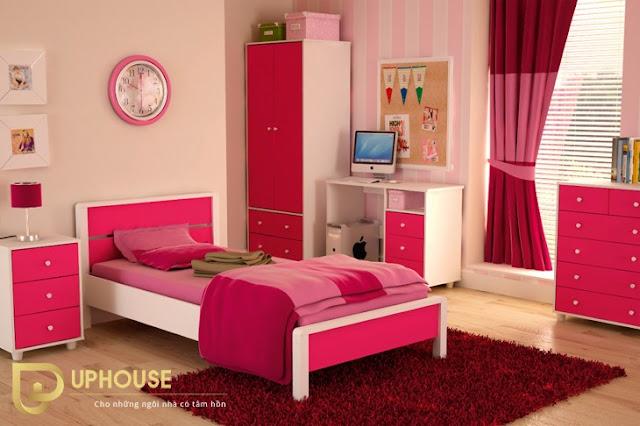 Phòng ngủ màu hồng trắng 01