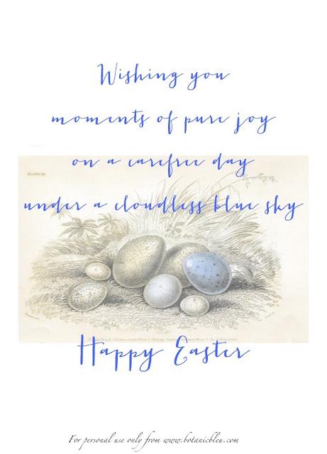 Download free printable to make DIY Handmade Easter Cards in blue ink