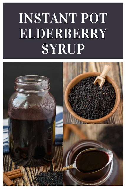 How to make elderberry syrup in your Instant Pot pressure cooker.  Sambucol has many benefits for colds and has been proven to support the immune system.  Also includes the dosage (dose), uses, and how to take a DIY elderberry syrup.  You can also make it thick in your Instapot.  This homemade recipe is cheaper than buying it and has honey for a natural sweetener. #instantpot #elderberrysyrup