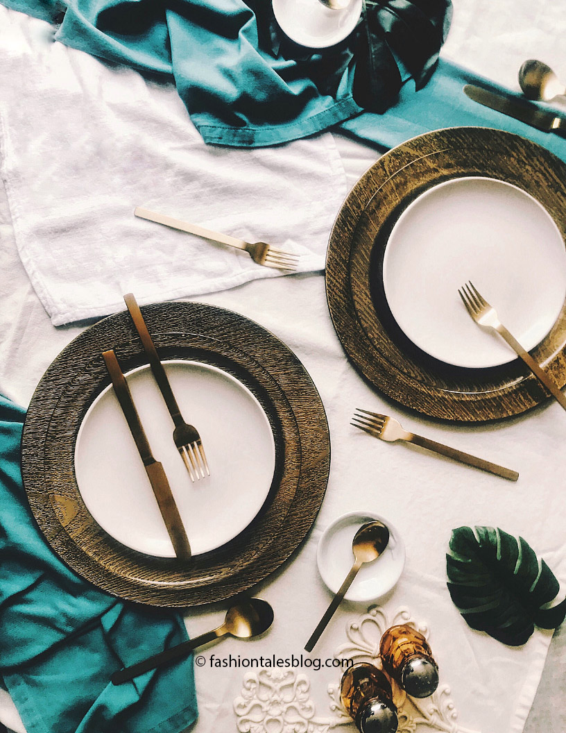Gold flatware white plates food styling