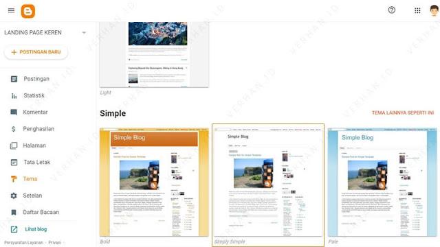 pilih template landing page blogspot simple