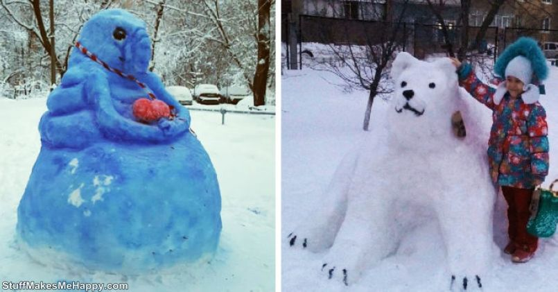 Internet Users Shared Photos Of Their #Snowman Made During An Abnormal Snowfall, Many Of Them Also Turned Out To Be Abnormal